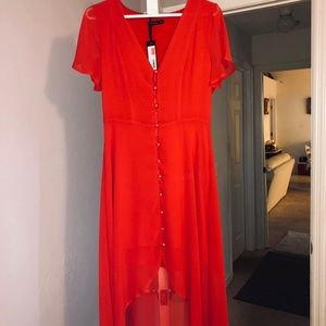 Red high-low dress